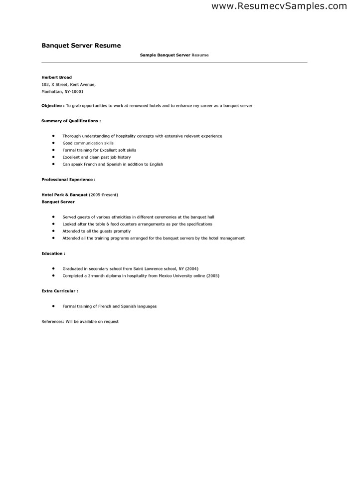 banquet server resume sample cocktail server training