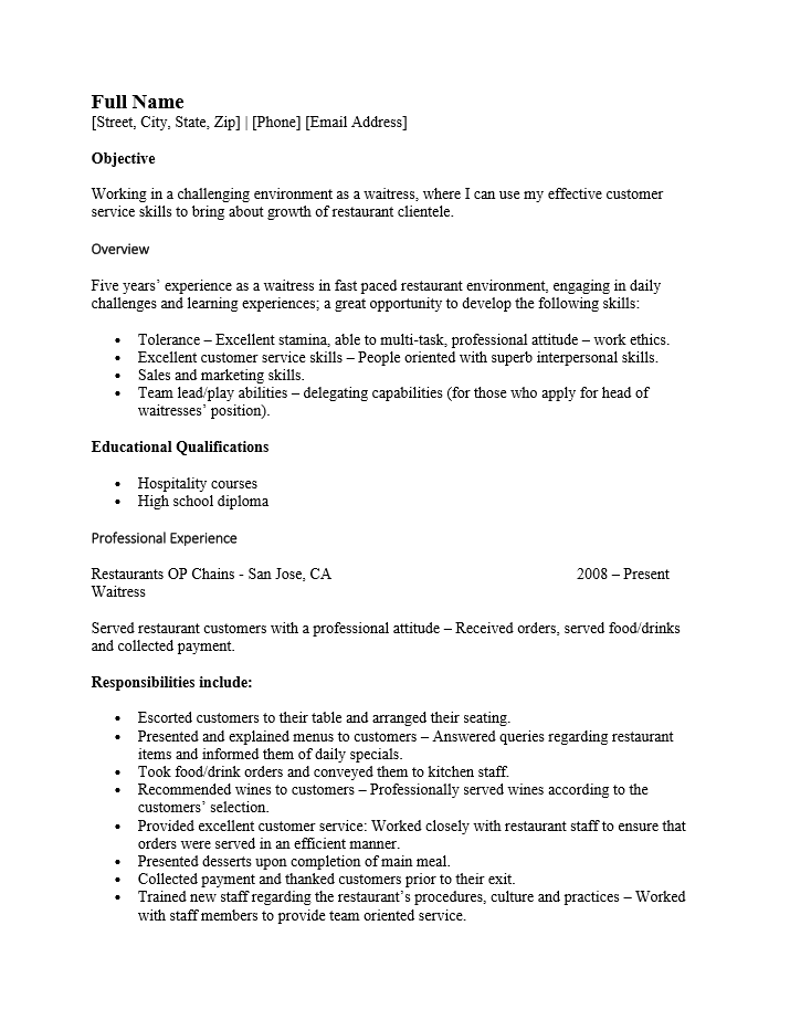 waitress objective for resume - Best Server Resume Sample