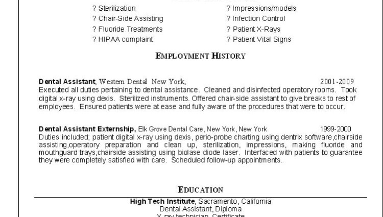 dental assistant resume cover letter template examples orthodontic sample instructor samples dentist