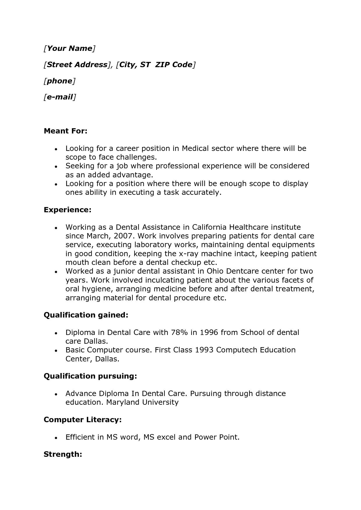 Dental Assistant Job Description For Resume Photo Dental Assistant Resume  Example Images