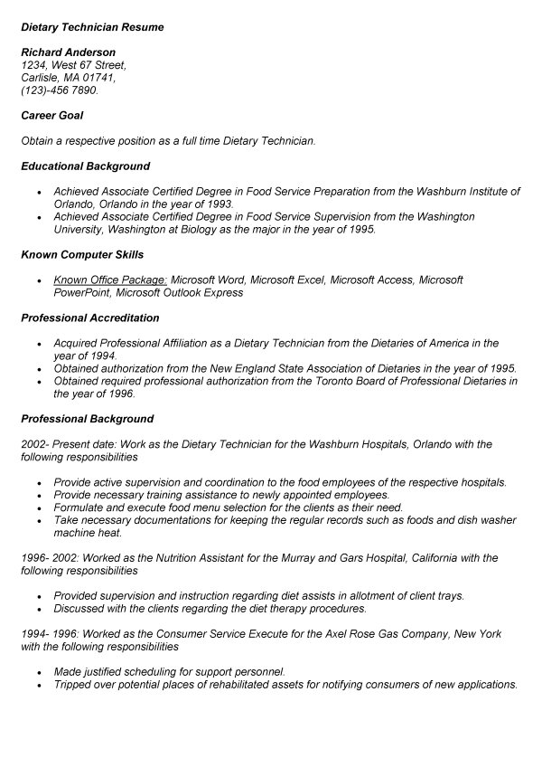 Dietary Aide Job Description For Resume Dietary Technician Resume