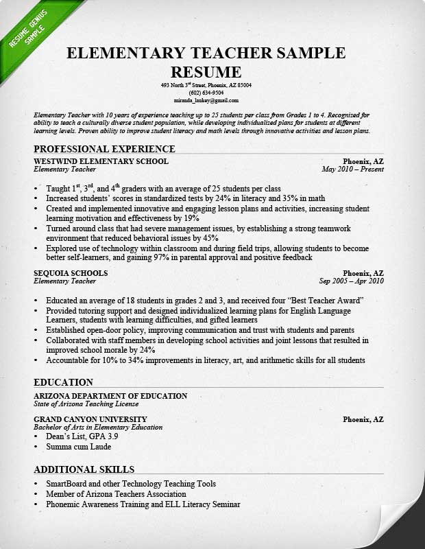 Elementary Teacher Resume Sample Professional Experience