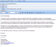 email cover letter format Cover Letter Email Example