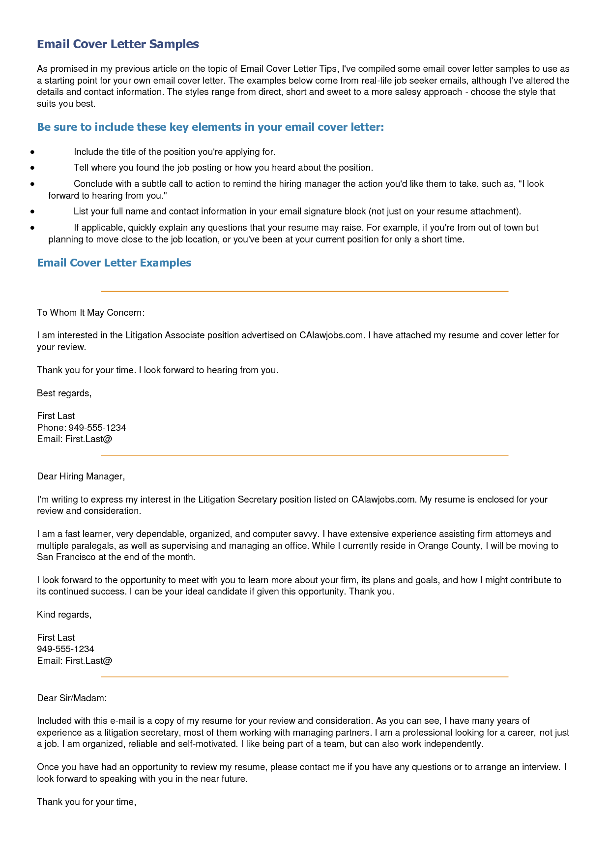 email cover letter sample Email Cover Letter Samples ...