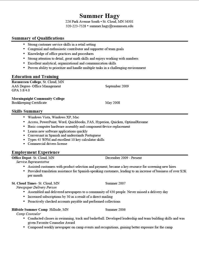 great resume examples Of A Good Resume Great 10 Download summary of  qualifications