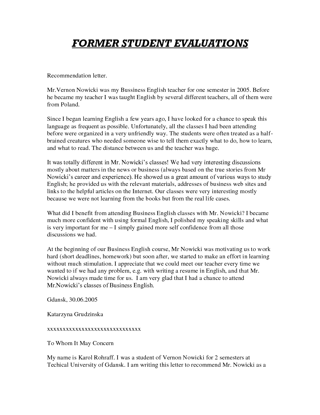 letter of recommendation for teaching position sample letter of ...