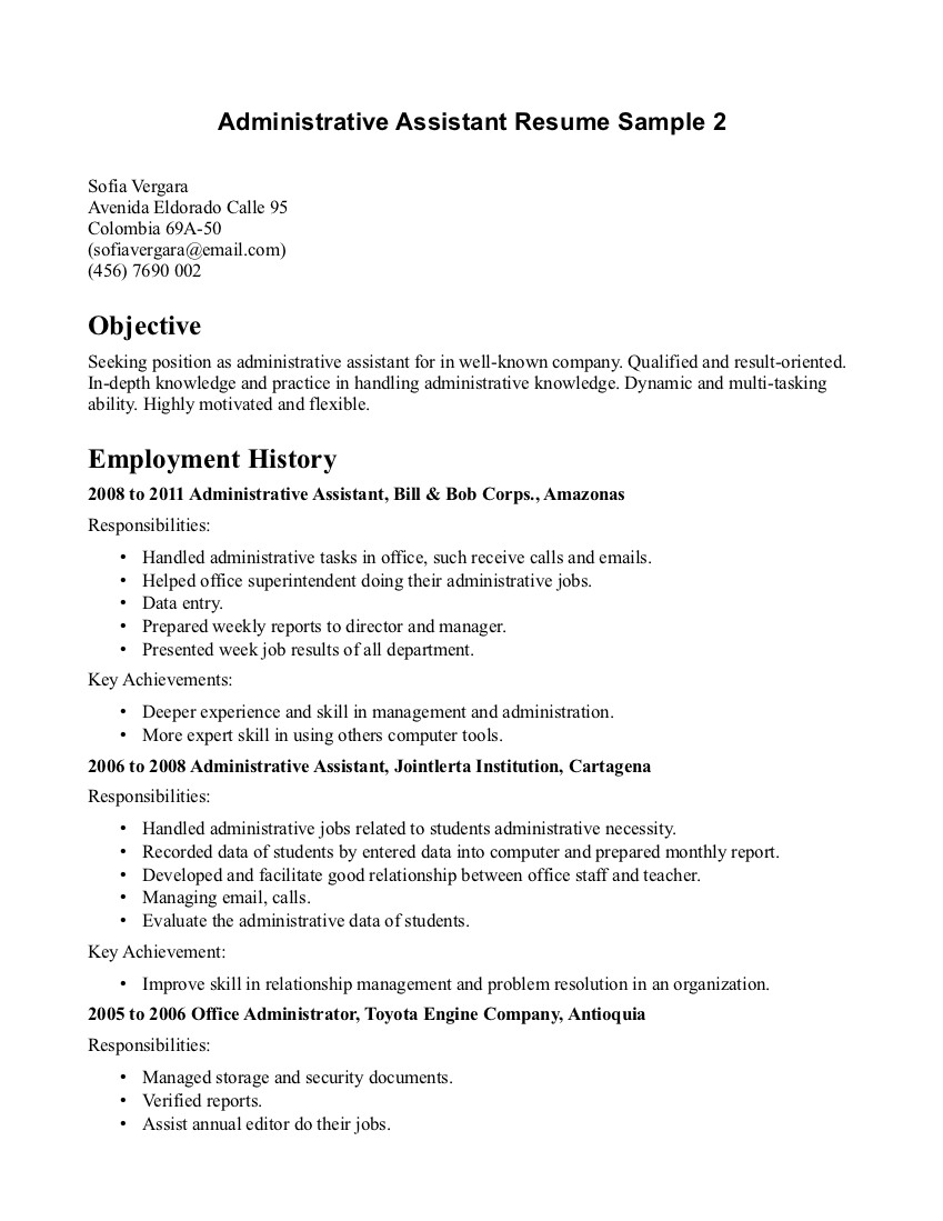 administrative assistant career objective - Administrative Assistant Resume Objective Sample