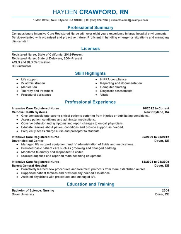 New Grad Rn Resume Intensive Care Nurse Healthcare