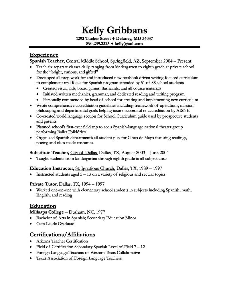 resume description for bartender