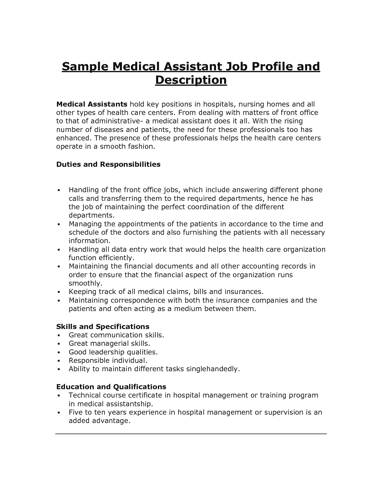 sample Medical Assistant Job Description duties and responsibilities