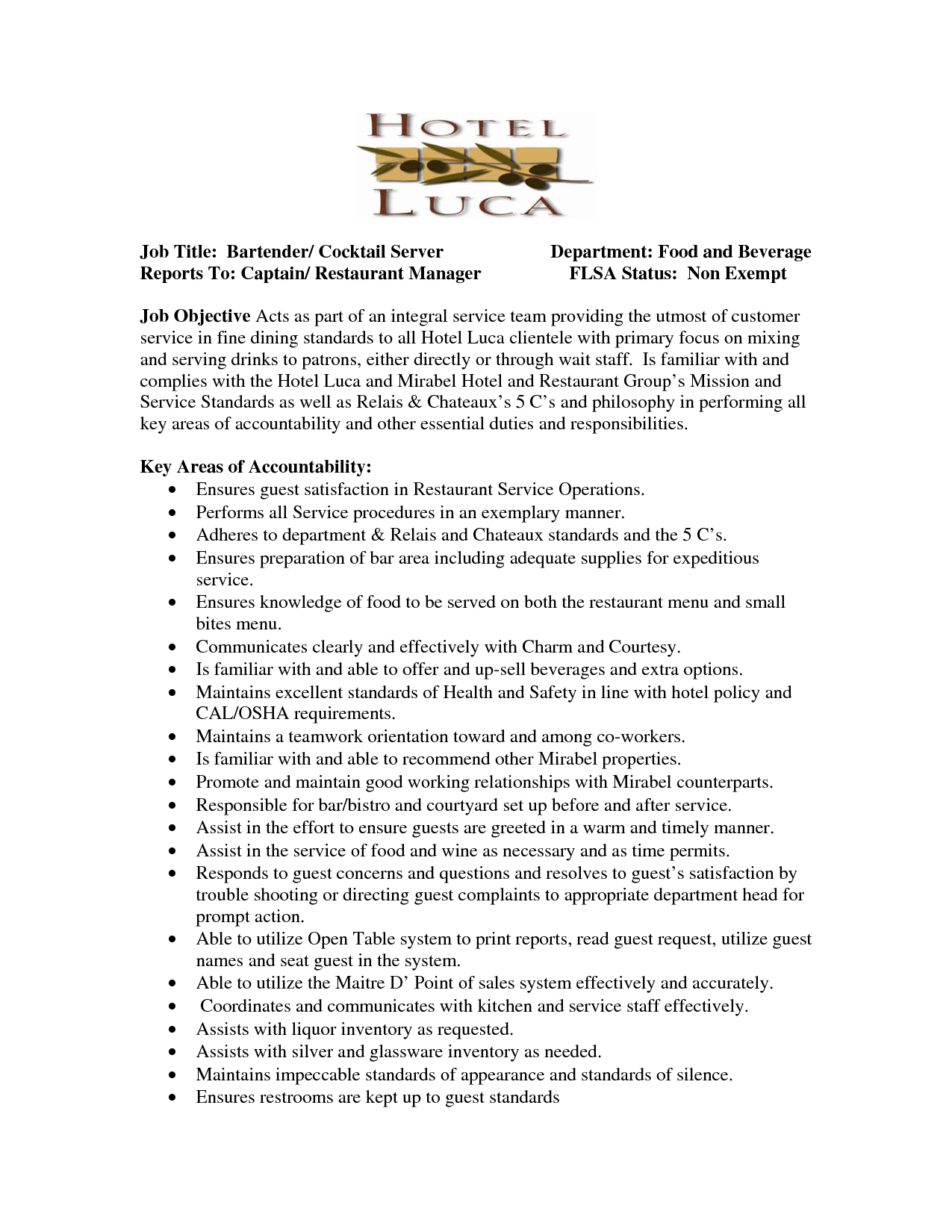 Server Resume Job Title Bartender Cocktail Server Department Food Waitress  Job Description For Resume  Bartender Description
