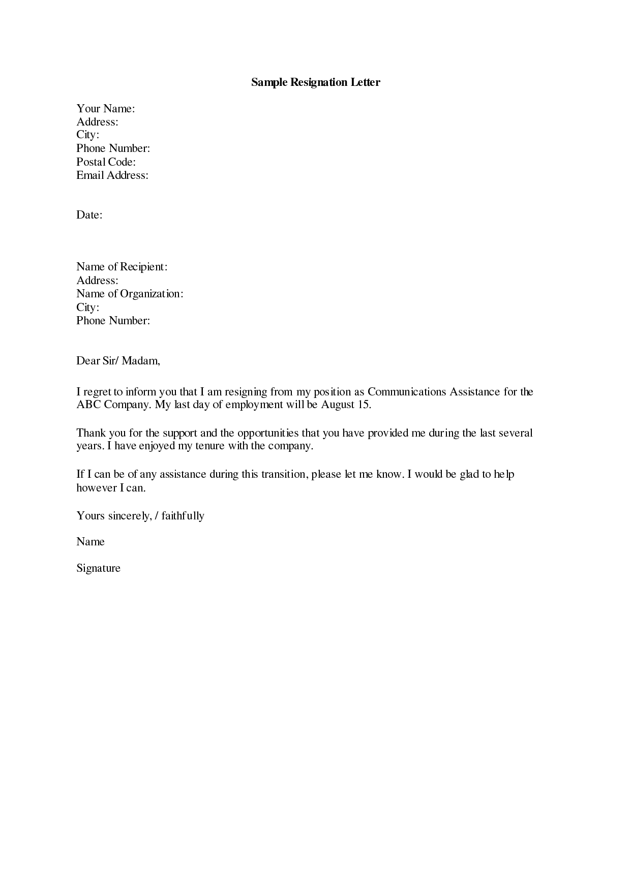 formal two week notice resignation letter example simple letter of resignation example samples of resignation letters i am conscious of the need to