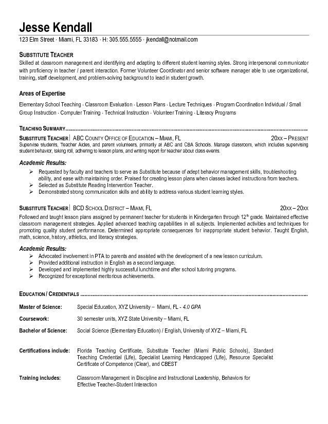 substitute teacher resume sample Idealvistalistco