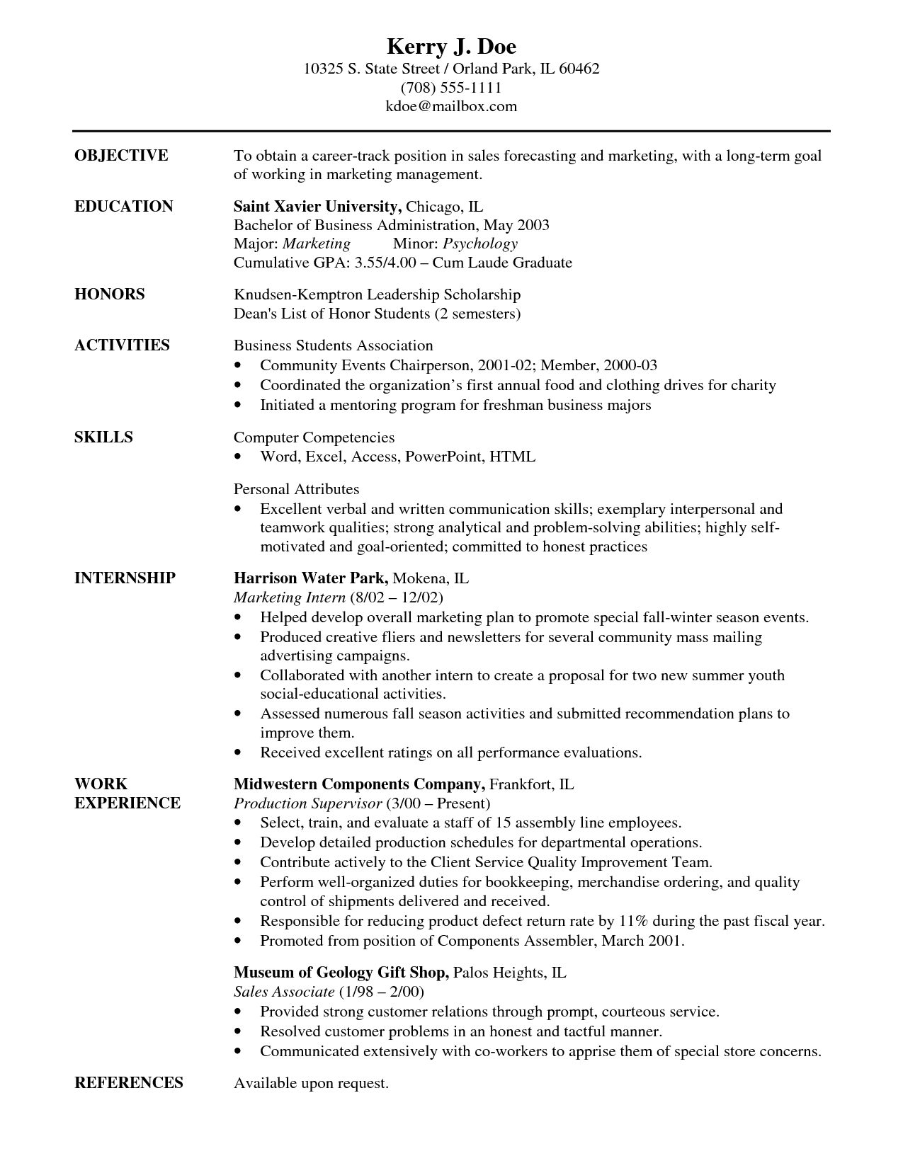 resume career objectives sales