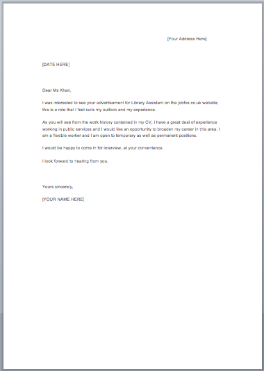 Blank cover letter examples free sample cover letter for Cv covering letter templates uk