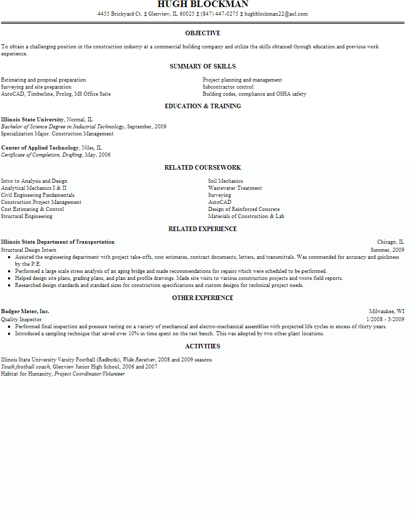 Construction Project Engineer Resume Sample Summary Of Skills