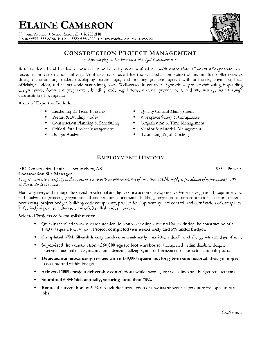 construction project manager resume sample employment history - Project Manager Resumes Samples
