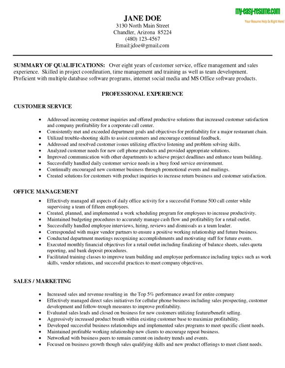 objectives for resumes for customer service