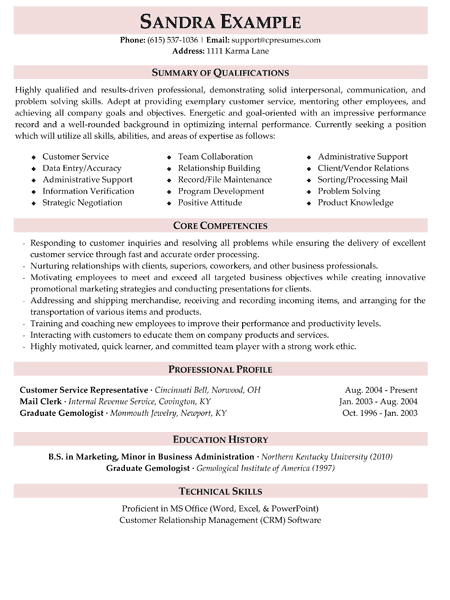 professional summary examples for resume for customer service beni