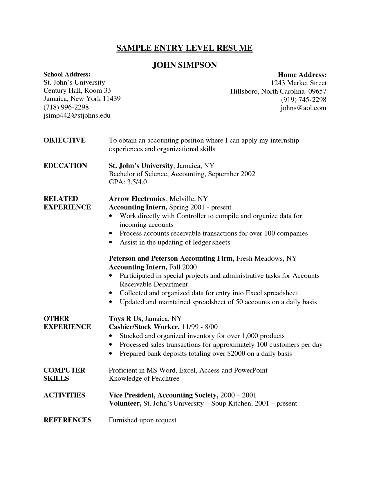 entry level accounting resume sample objective related experience - Objectives For Entry Level Resumes