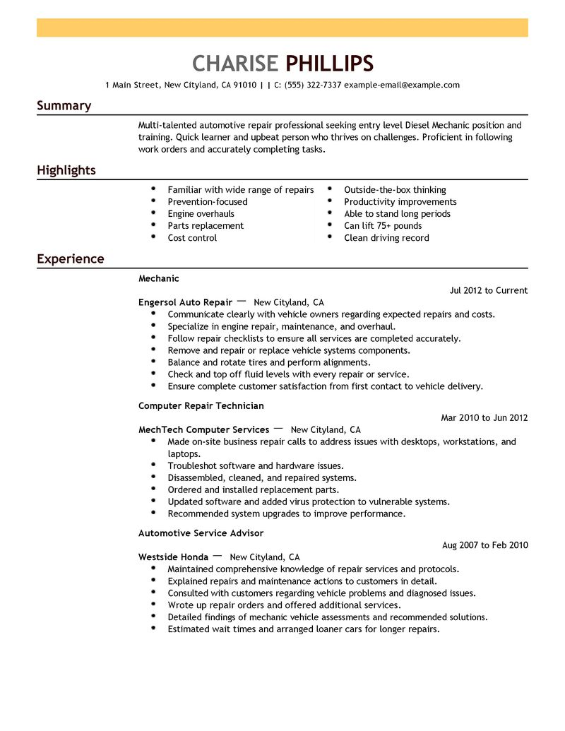 Entry Level Resume Examples mechanic installation repair emphasis ...