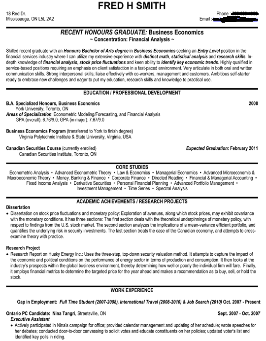 Entry Level Resume Sample recent honours graduate ...