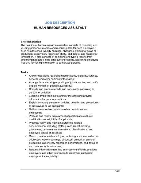 Examples of Related Documents Administrative Assistant Job Description