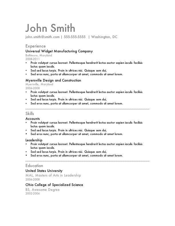 Marvelous Simple Word Resume Template