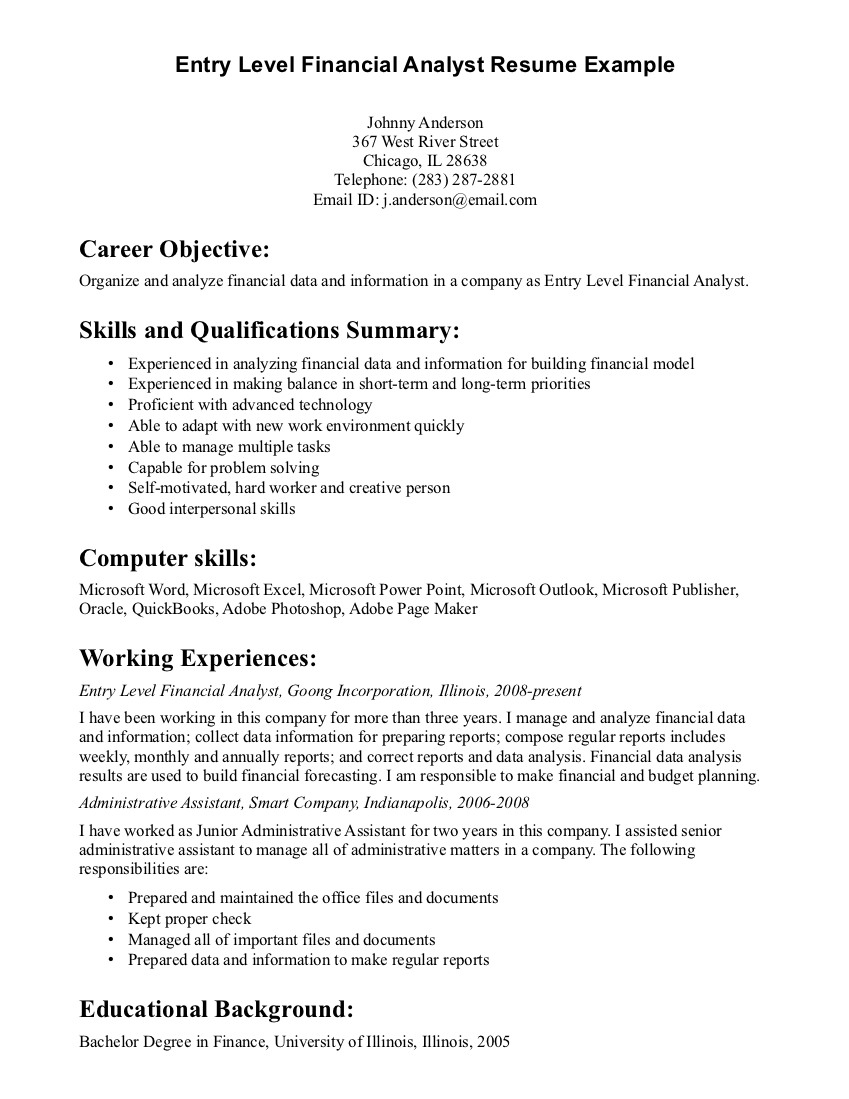 general entry level resume objective examples career objective skills qualifications summary - Junior Financial Analyst Resume