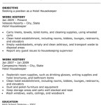 Hotel Housekeeper Resume objective work history