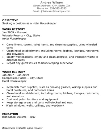 hotel housekeeper resume objective work history - Housekeeper Resume Objective