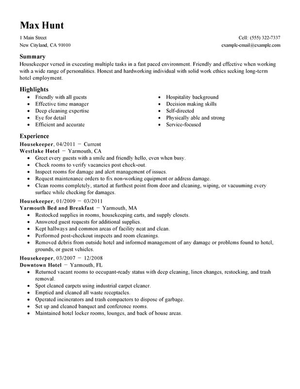 housekeeper resume sample housekeeper hotel and hospitality highlights experience - Housekeeping Responsibilities
