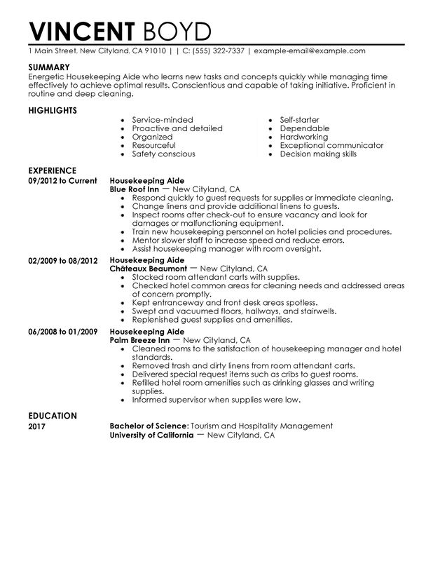 Housekeeping Aide Resume Sample Hotel And Hospitality Summary