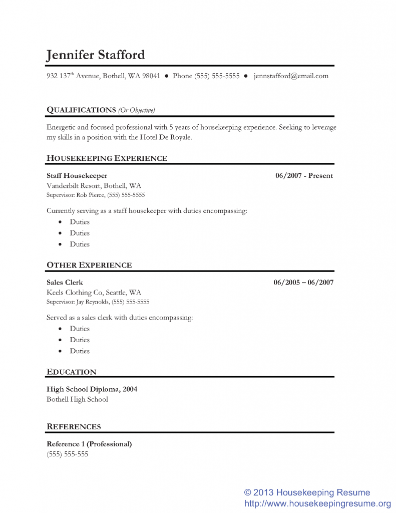 Housekeeping Resume Examples Samples Housekeeping Skills and Abilities