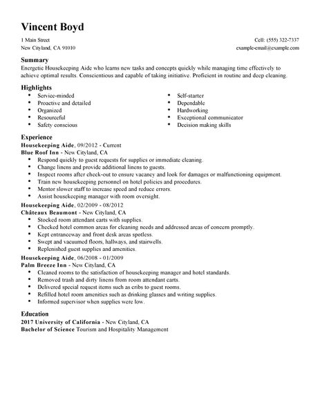 12 Free Housekeeping Resume Sample Samplebusinessresume