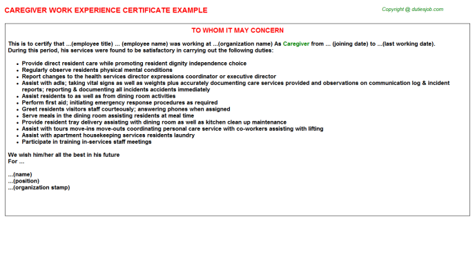 Job Description Caregiver Work Experience Certificate