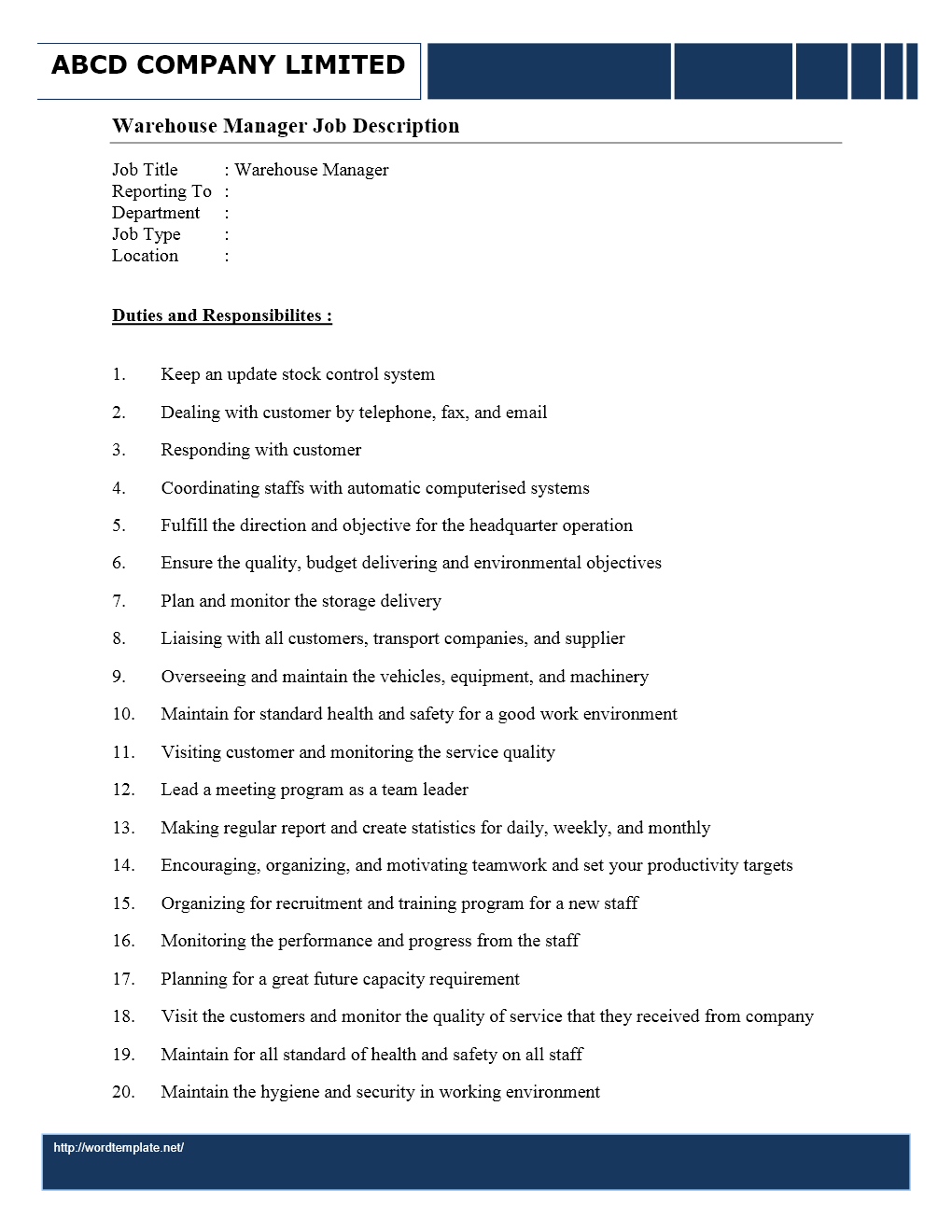 warehouse duties resume cv cover letter - Inventory Manager Job Description