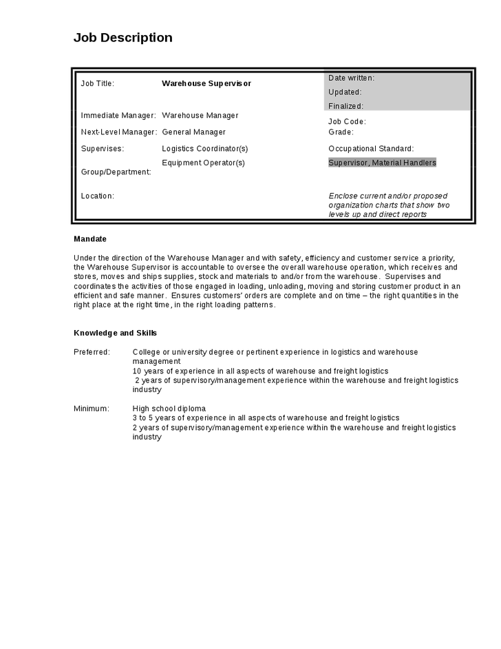 supervisor job description for resume artemushka com