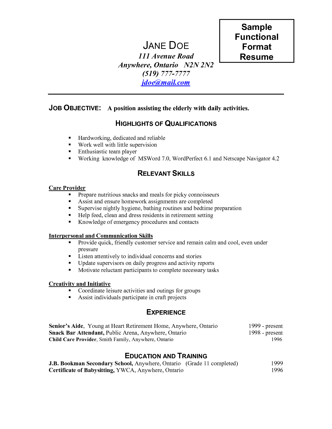 Caregiver Job Description for Resume 2016 - SampleBusinessResume.com ...