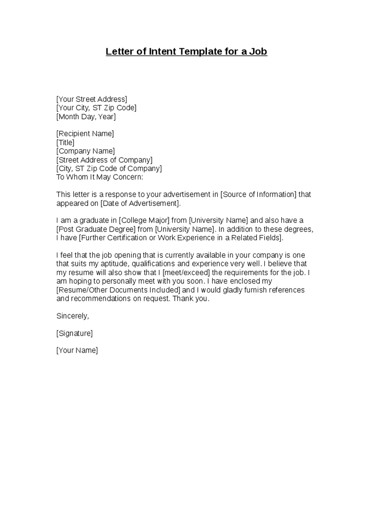 letter of intent format letter of intent template for a letter of intent 10322