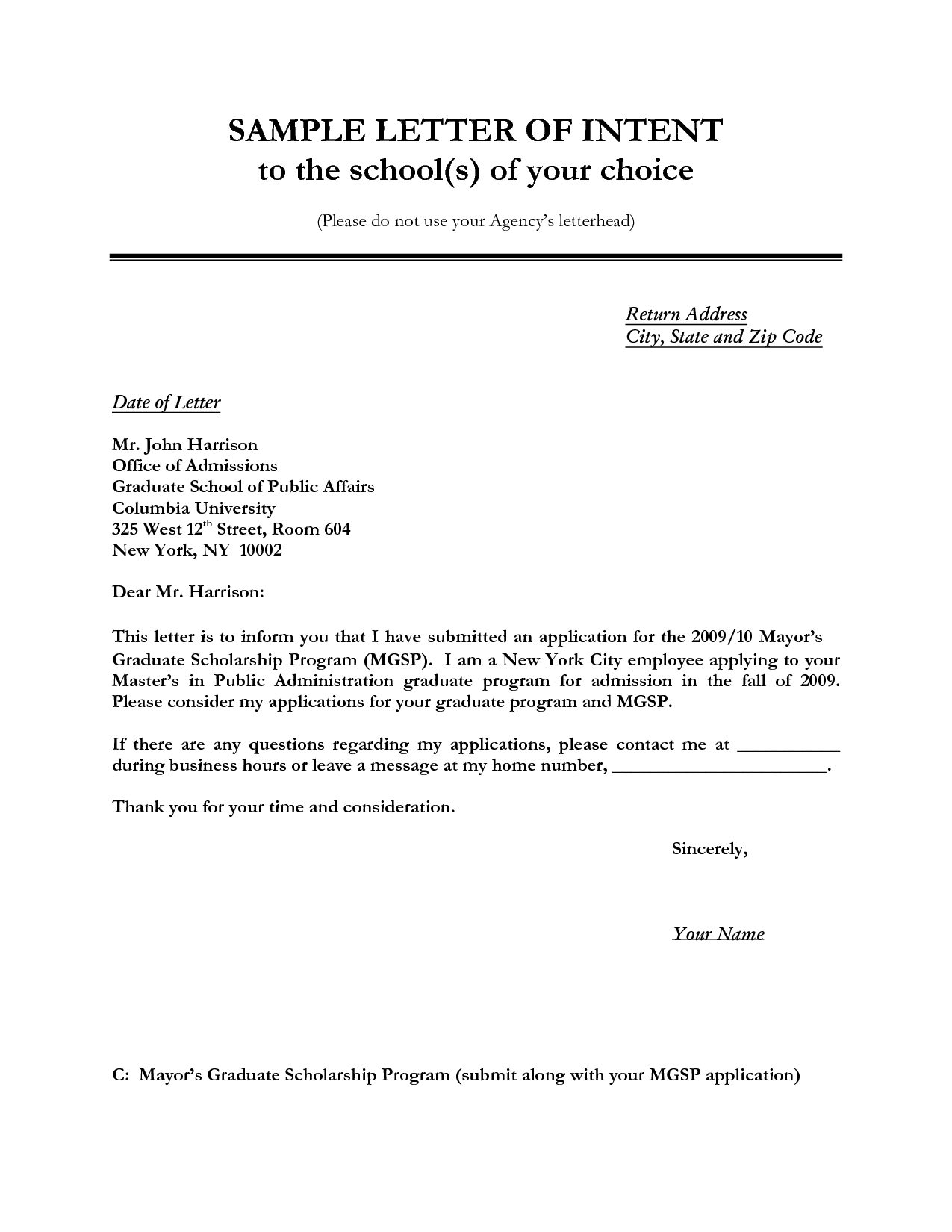 Application letter for company scholarship – College Application Letter