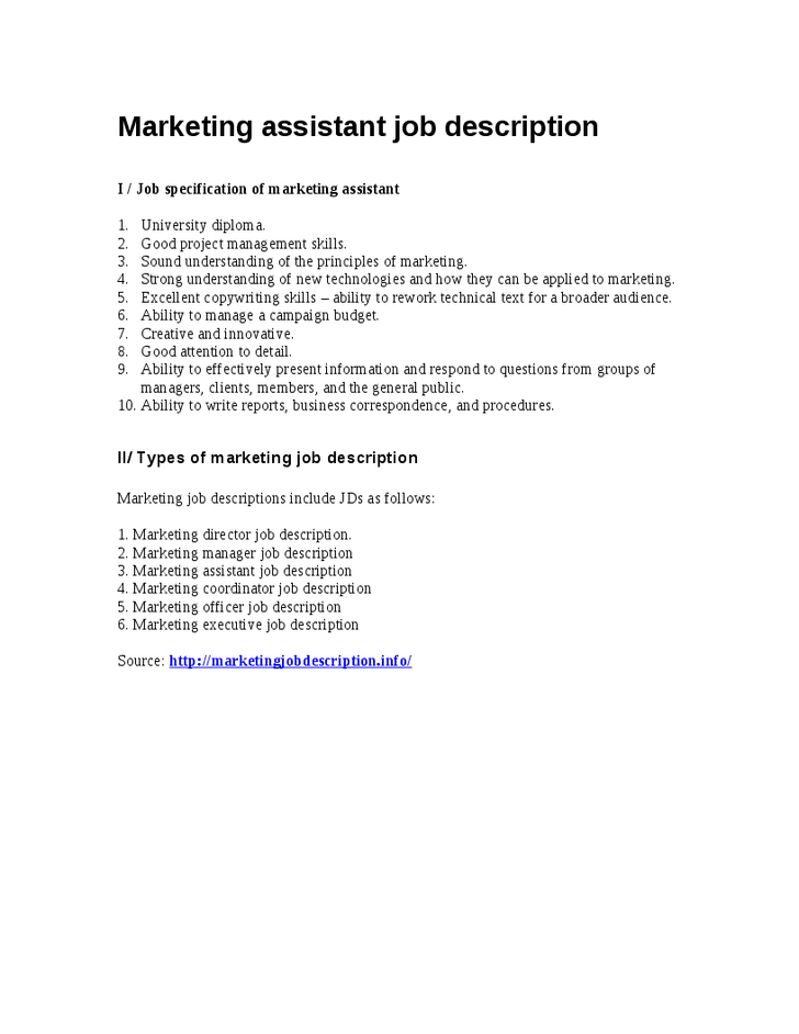 Marketing Assistant Job Description Samples