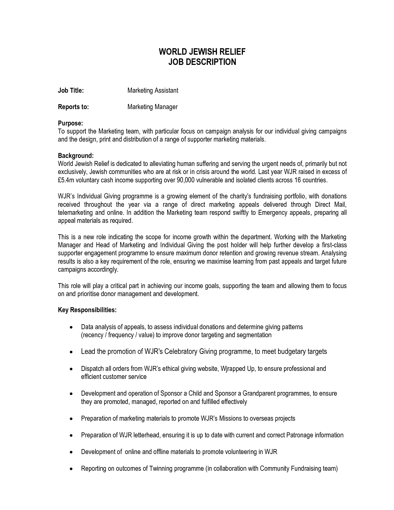 Marketing Assistant Job Description world jewish relief job ...