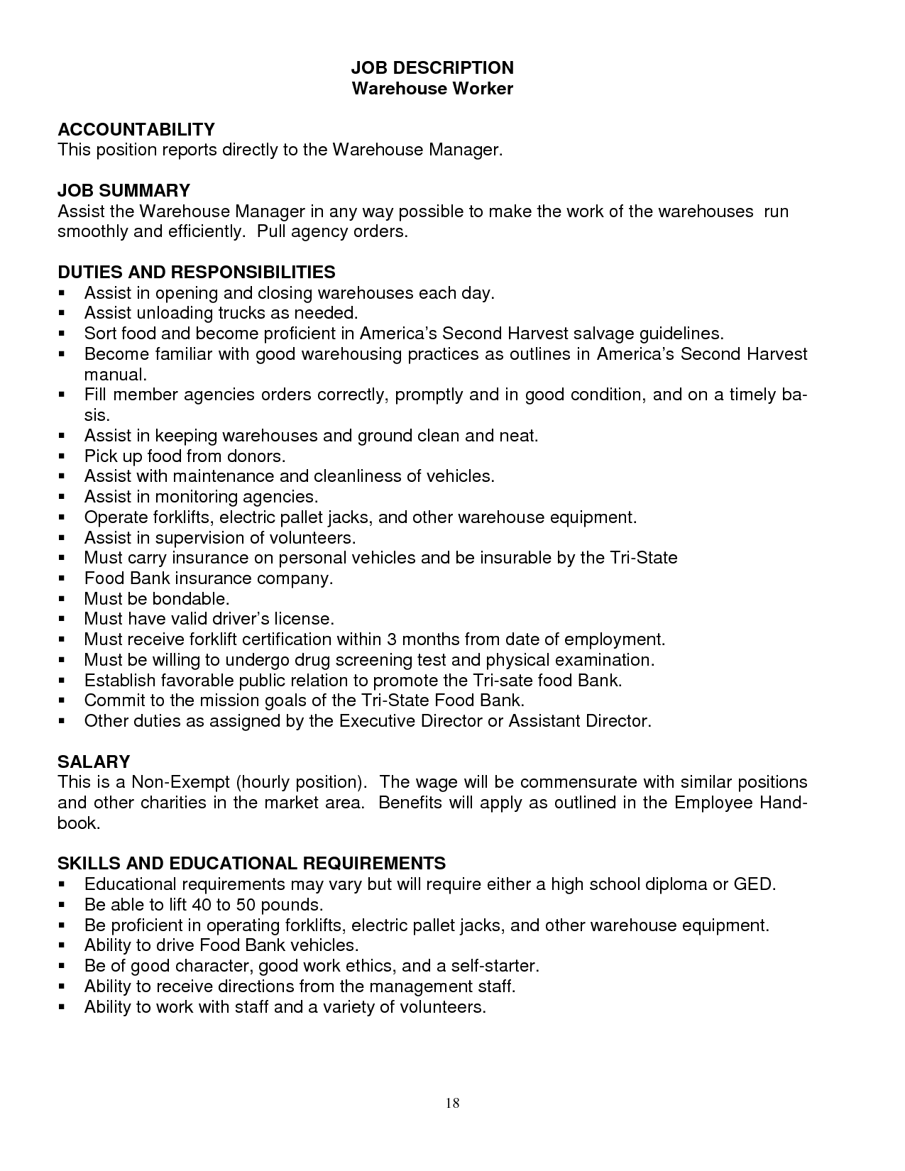 warehouse job description resume tikir reitschule pegasus co