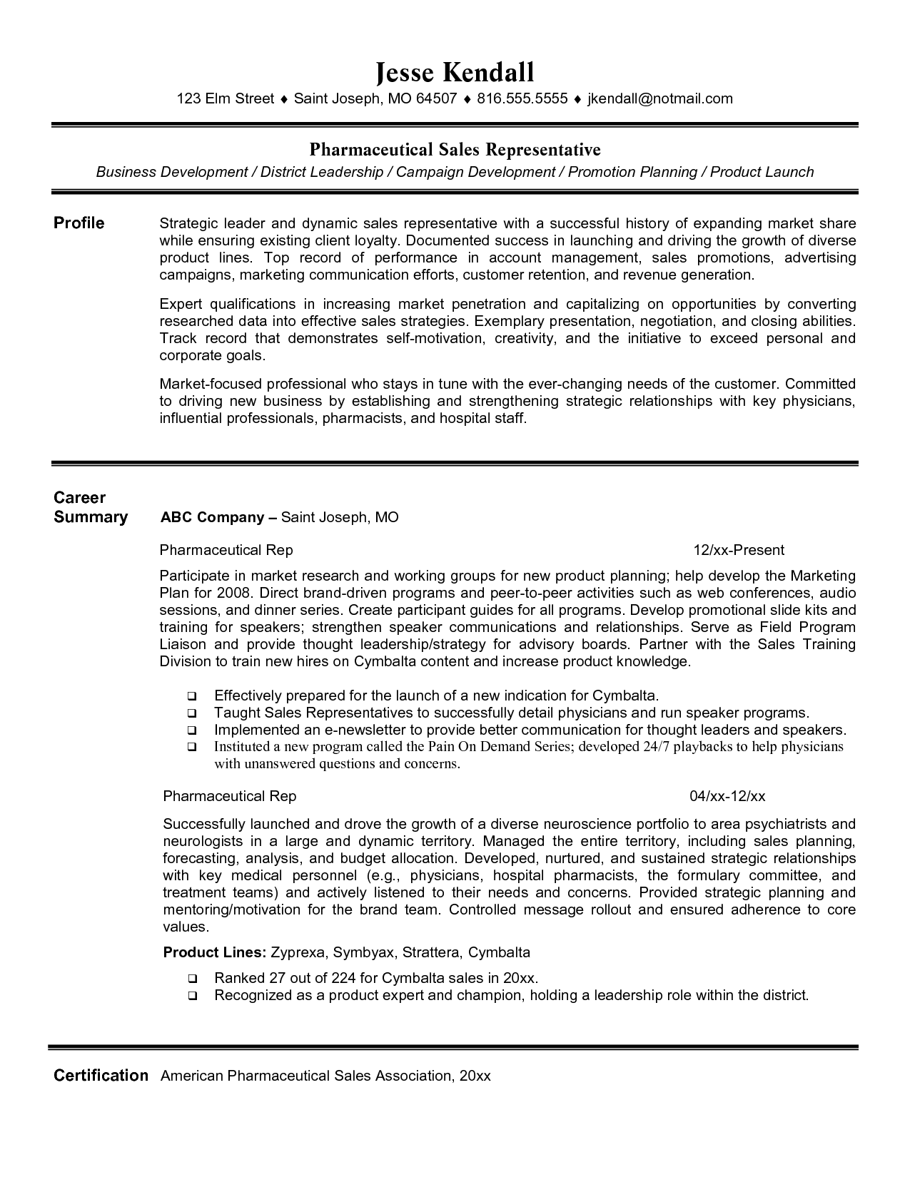 Pharmaceutical Sales Rep Resume Sample Entry Level Pharmaceutical