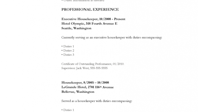 duties of a housekeeper photo sample resume for cleaner images ...