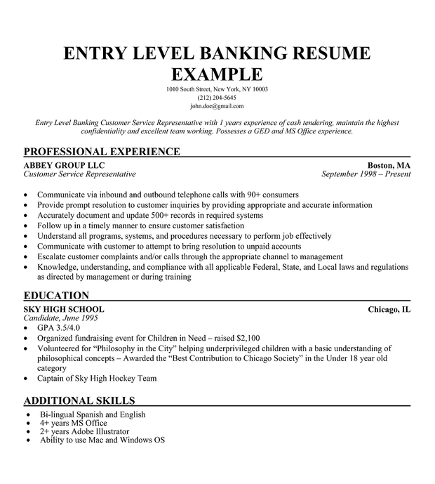 Resume Entry Level Banking Customer Service Representative .