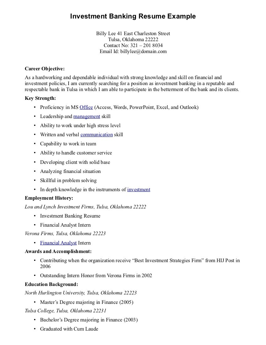 resume examples best good career objective for investment banking resume example - Banking Resume Format