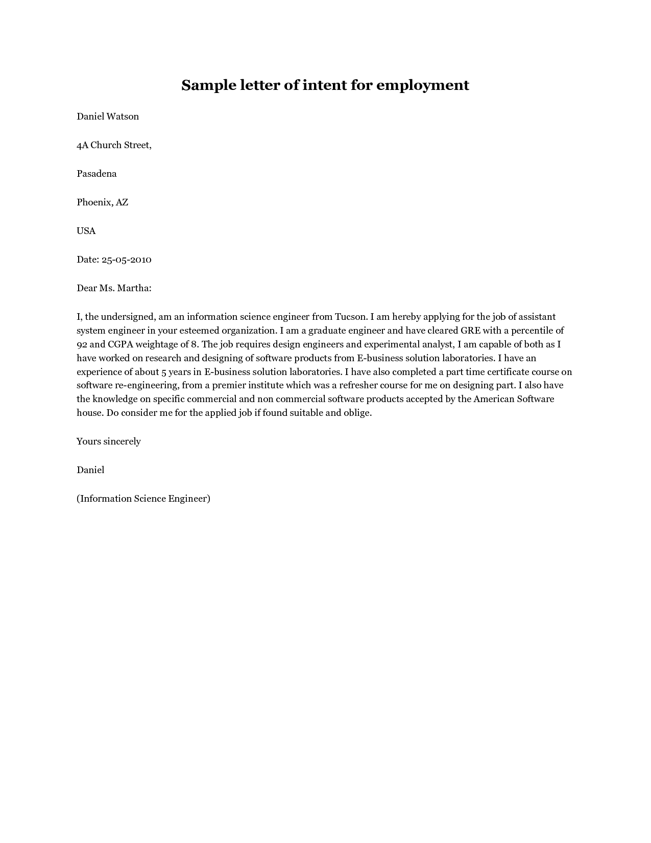 Sample Letter of Intent Job Application sample letter of intent for  employment