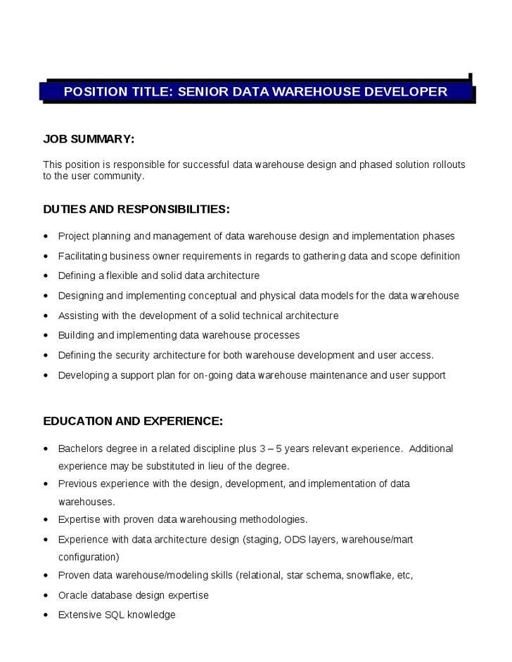 Senior Data Warehouse Developer Job Description duties and responsibilities